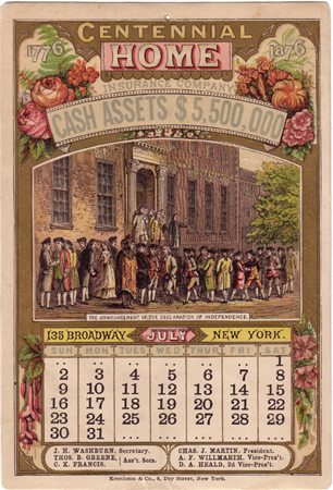 July from the Centennial Home Insurance Company almanac for 1876 printed by Kronheim & Co, New York