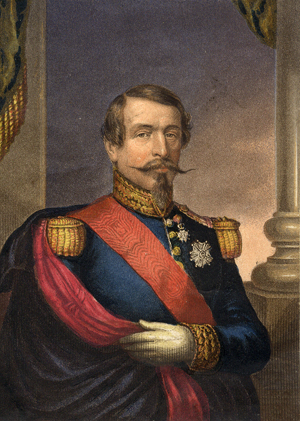 Vive L'Empereur! Napoleon III by George Baxter showing the three and a half buttons
