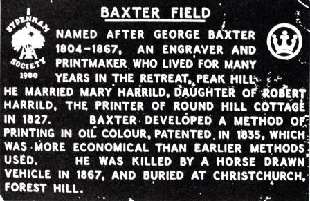 Plaque erected in the memory of George Baxter by the Sydenham Society