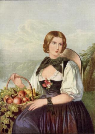 The Fruit Girl of the Alps by George Baxter